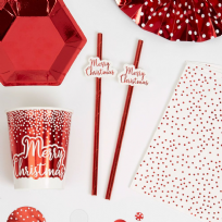 Merry Christmas Red & White Straws (10)